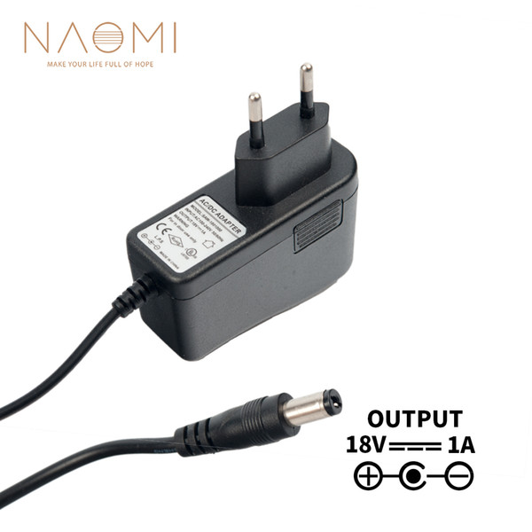 NAOMI Power Supply Charger 18V 1A EU Power Supply Adapter Charger Black For Guitar Effects Pedal Parts EU Plug Guitar Accessories NEW