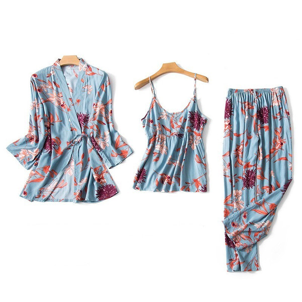 2019 хлопок шелк 3 шт сексуальные летние пижамы наборы женщин цветок халат пижамы комплект пижамы ночная рубашка + халат + брюки сна Lounge