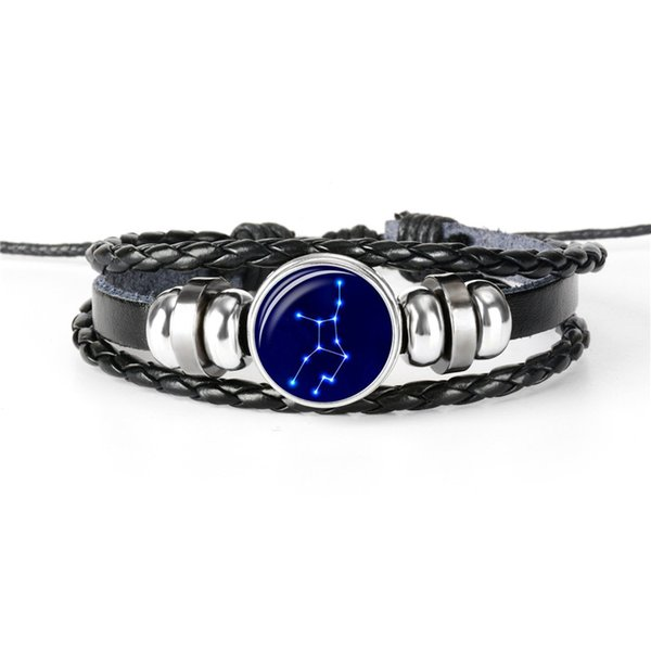 12 Horoscope Zodiac Virgo Time Gem Glass Cabochon Charm Black Genuine Leather Rope Beaded Bracelets Femme Homme Women Men Male Jewelry Gifts