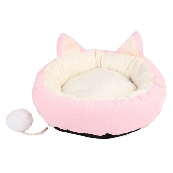 Cute Nest Pet House Cat Dog Sleeping Kennel Puppy Detachable Mat Soft Home Two Ear Warm Non Slip Bed