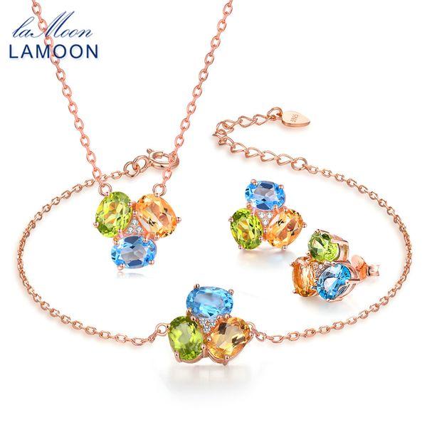 LAMOON 925 sterling-silver-jewelry Natural Oval Yellow Citrine Green Peridot Blue Topaz Fine Jewelry V003-4