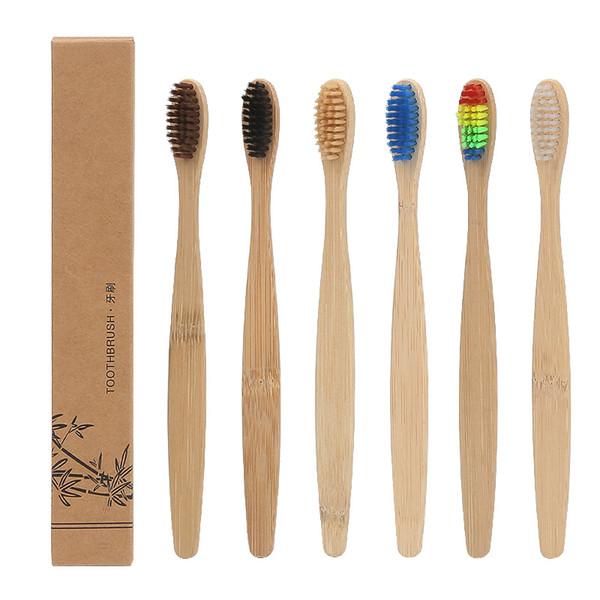 Lidar Com Bambu Natural Escova De Dentes Do Arco-íris Colorido Branqueamento Suave Cerdas De Bambu Escova De Dentes Ecológica Cuidados Com Os ...