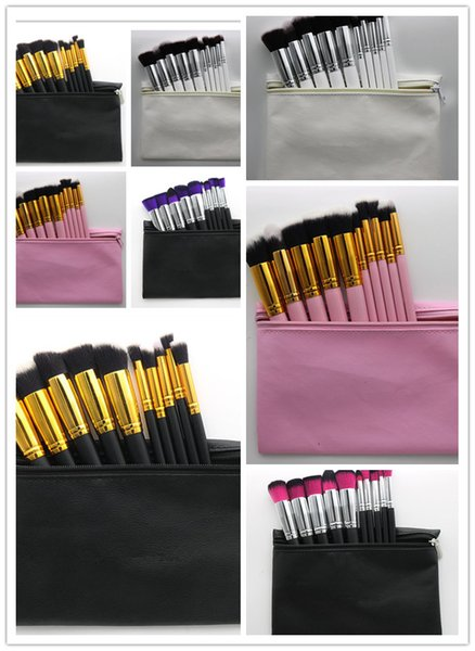 f5f2ff40f 1pcs Hot Makeup Professional Brush set Cosmetic Foundation BB Cream Powder  Blush 10 pieces Makeup Tools Black White Pink with Pouch DHL