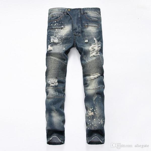 Jeans de style européen et américain de nouveaux hommes pliés droit Street Street avec style Slim Jeans pour hommes