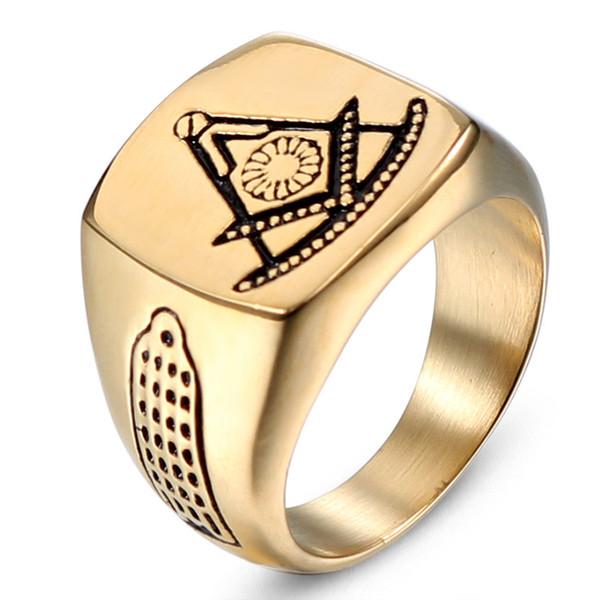 High Qualtiy Polished Brand Past Master Masonic Signet Rings Gold Color Titanium Stainless Steel Freemason Free Mason Ring for Men Jewelry