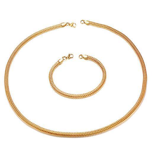 24 '' + 8.8 '' Mujeres Mens de acero inoxidable 5.5 mm de malla de oro Bong cadena Gargantilla collar + pulsera conjunto