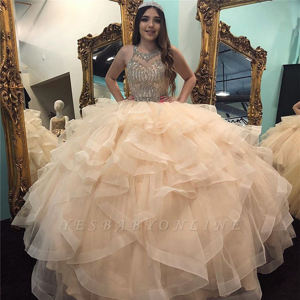 2020 Keyhole Major Beading Vestidos de quinceañera Vestido de fiesta Cuello transparente Vestidos de fiesta por encargo Tul con gradas Dulce 15 Vestido de noche de disfraces