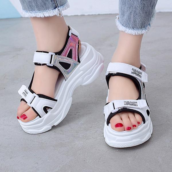 Silver Shine High Platform of Thick Bottom Loop Hook Zapatos casuales Sandalias Mujeres sandalias de verano mujeres tacones altos