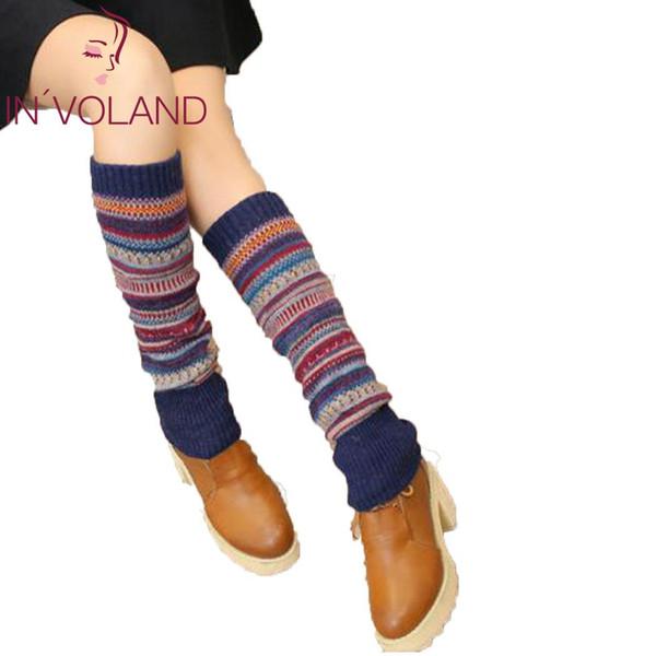 Frauen Warm Leg Protector Multicolor Streifen Dick Woolen Lässig Gestrickte Lange Rohr Herbst und Winter Socken