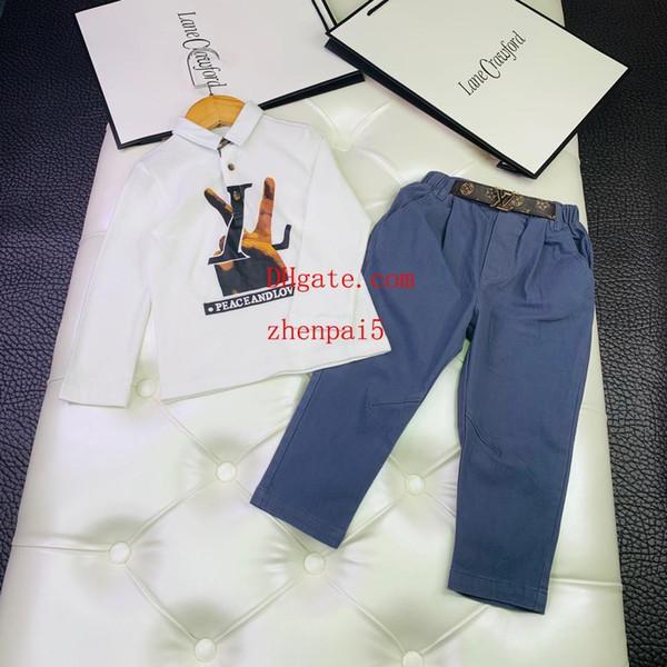 2019 çocuklar pantolon set çocuk giyim boys eşofman Yaka pamuk baskı Kazak rahat pantolon suit 2 adet suit erkek bebek kız Giysileri AB-3