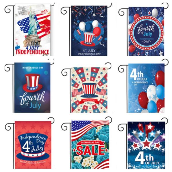 Bandera de jardín caliente 30 * 45 cm Bandera del día de la independencia Decoración de jardín al aire libre Banderas de banderas Banderas de jardín americanas T2I5205