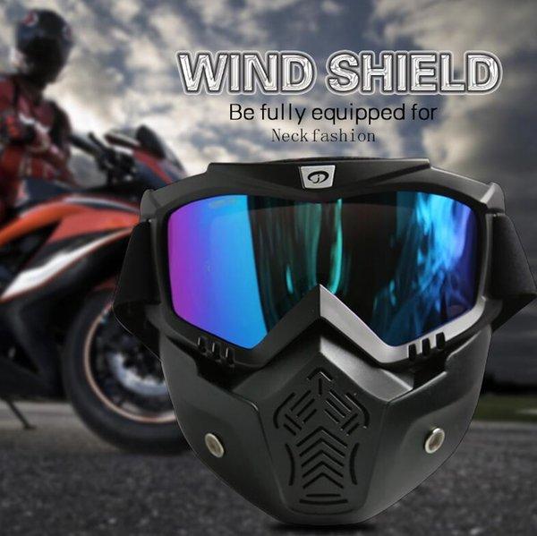 Ski Goggles Men Women Retro Motorcycle Face Mask Goggle Aviator Motocross Motorbike Open Face Detachable Goggle Helmets Bike Racing Goggles