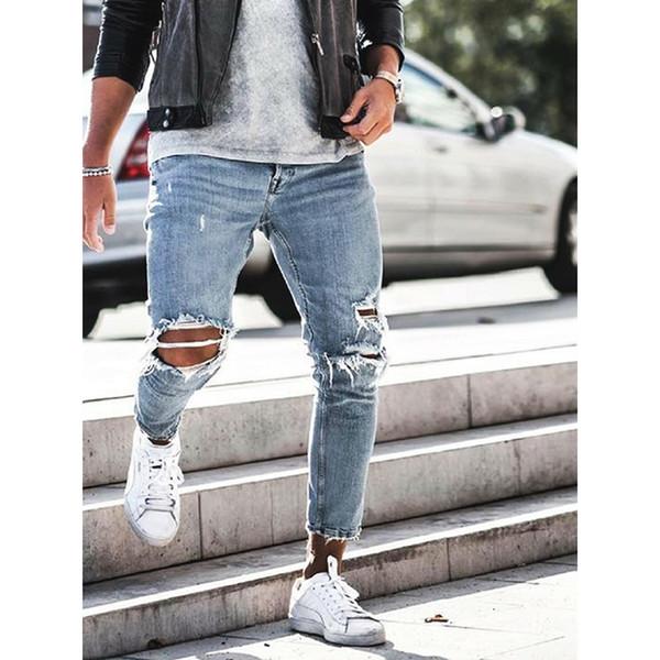 Men's Hole Jeans Men's Pencil Pants Casual Ankle Length Jeans With Hole Design Man's Fashion Slim Denim Trousers For Males D40