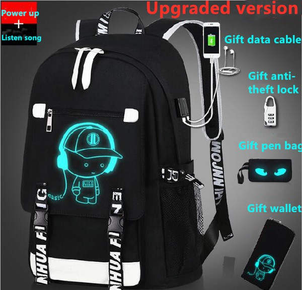 fh77-3#luminous backpack usb charging designer male and female student schoolbag travel bag computer bag gift anti-theft lock and pen bag