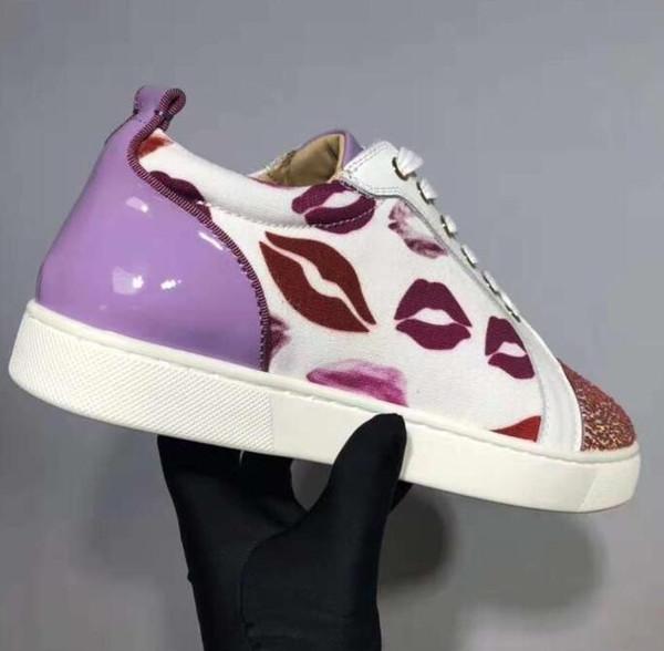 2019 Low Top Diamond Zapatos de zapatilla de deporte inferiores rojos Hombres Perfect Rhinestone Casual Women lip print patt