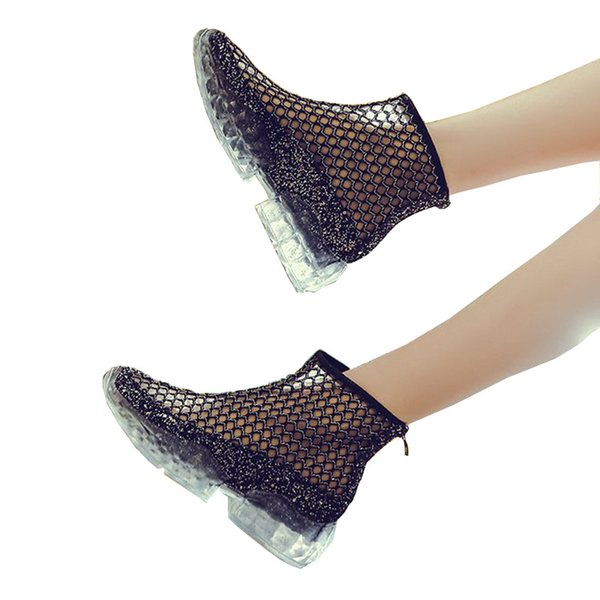 Wholesale Platform boots for women new fashion design net Ventilation shoes summer jelly crystal casual ankle boots