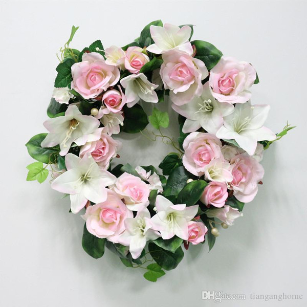 High Quality Diy Wedding Artificial Flower Rose Lily Green Leaves Simulation Cane Adornment Garland Wall Party Decor Vine Lintel Flower
