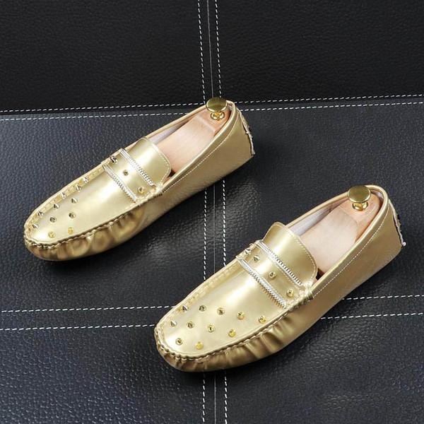 NEW Komfort glänzend Niet Wohnungen Kleid Gentleman Fahren Schuhe ror Männer Männliche Hochzeit Heimkehr-Abend-Bräutigam-Abschlussball-Schuhe