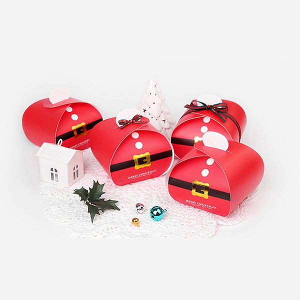 10pcs Christmas Tree Pattern Candy Bag Xmas Party Decoration Red Gift Box Favor Paper Package Cookies Baking Candy Bag Stocking