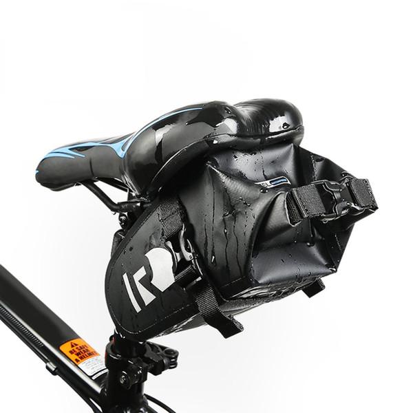 Serisi Tam Su Geçirmez Bisiklet Bisiklet Bisiklet Çantası Tam Su Geçirmez PVC Aksesuarları Arka Kuyruk Eyer Çantası Siyah