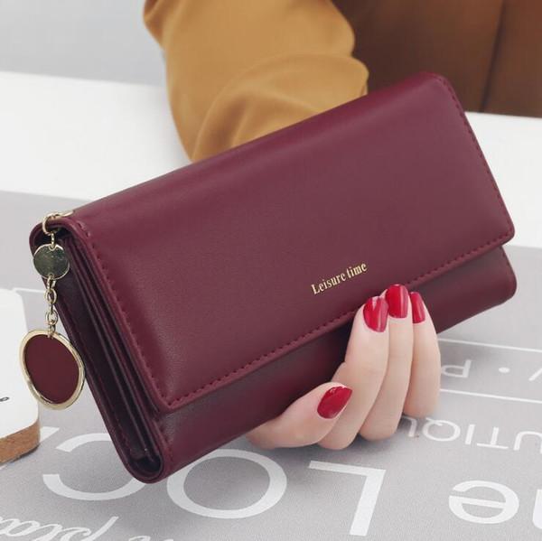 Portafoglio femminile multifunzionale della carta della frizione della borsa di cuoio fresca dell'unità di elaborazione della nuova di modo portafogli delle donne di nuovo modo 5Color Trasporto libero