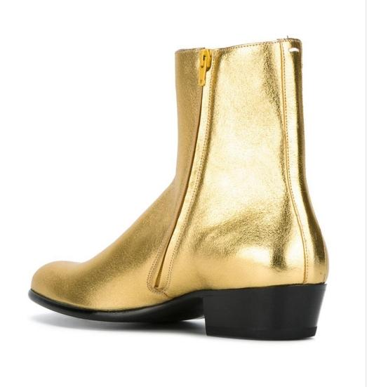 2017 Hot Design Men Shoes Genuine Leather Ankle Boots Gold Pointed Toe Zipper Martin Boots Flat Heel Fashion Brand Men Boots Large Size Flat