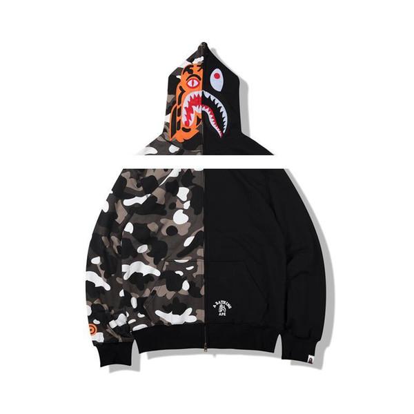 Günstige neue Hoodie Männer ein Baden AAPE Ape Shark Hoodie Mantel Camo Full Zip Jacke Camouflage Hoodies Hot Cardigan.