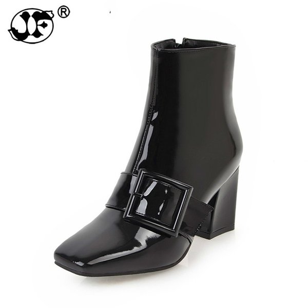 uj09 new arrivals large size 32-43 black ankle boots woman shoes fashion square toe square heels winter boots woman shoes99
