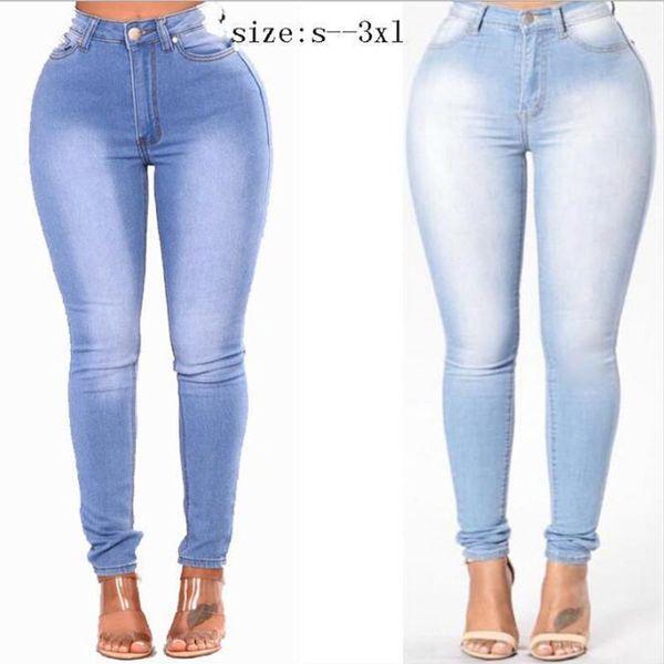 Taglie vita Skinny Jeans donne della qualità spingono verso l'alto Stretch Jeans denim aderente pantaloni della matita femminile elastico tasca dei pantaloni