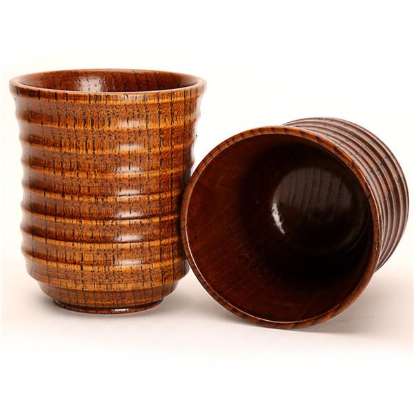 best selling Wooden Drinking cup Wood Tea Cup Wine Beer Cups Retro Beer Coffee Tea Milk Juice Cup Kitchen Bar Accessories mug KKA7520