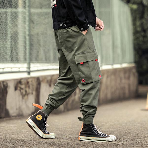 2019 Autumn Man Pants New Fashion Streetwear Stitching Color Joggers Hip Hop Long Pants Men Elastic Waist Cargo Men
