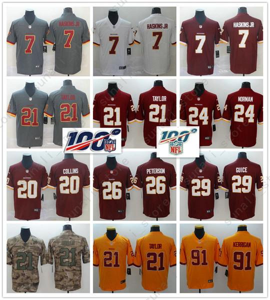 Homens Washington 21 Sean Taylor Jersey 7 Dwayne Haskins Norman 86 Reed Peterson 20 Collins 8 Case Keenum 29 Guice Redskin Jerseys ponto