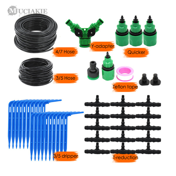 MUCIAKIE 50M 4/7 a 3 / 5MM Sistema de irrigación por goteo micro Jardín Bonsai Kits de riego de goteo de la planta con 1/4 1/8
