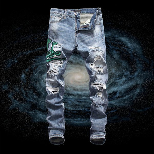 High quality men's jeans Slim motorcycle rider ripped jeans hip hop designer double snake high-end jeans