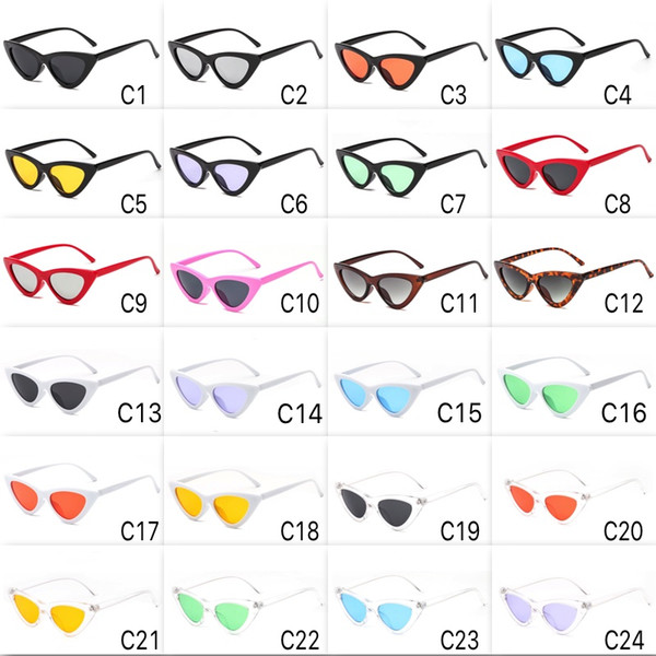24 Colors Updated Super Cute Cat Eye Sunglasses Frame Colorful Fashion Cateye Sun Glasses Cheap Wholesale Eyewear