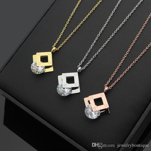 El acero inoxidable de moda más importantes de la nueva llegada UHotstore forma cuadrada con collar colgante de diamantes en la joyería de las mujeres de 50 cm PS5126 envío libre