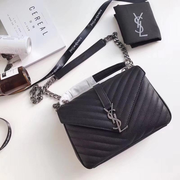 Fashion Autumn And Winter 2018 New Product Genuine Leather Thread Solid Colour Shoulder Bag Designer Handbags For Women