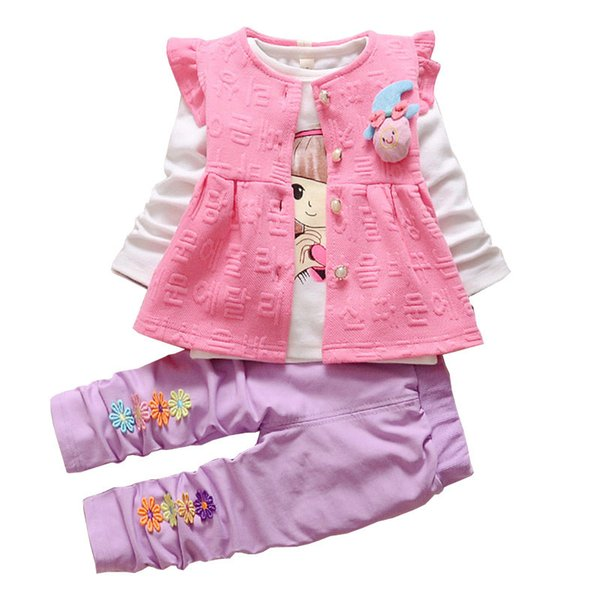 good quality Baby Girl Clothing Sets Kids 3PCS Coat+T-shirt+Pants Children Clothes For Spring Autumn Bebe Girl Outfits Bib Tracksuit