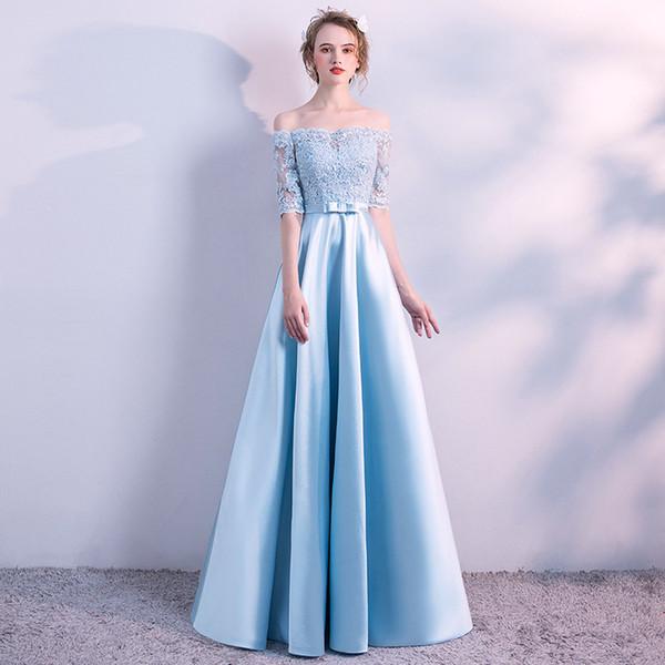 Sky Blue Satin Lange Abendkleider Kleider Spitze Appliques Formelles Kleid Schulterfrei Partykleider abiye elbise