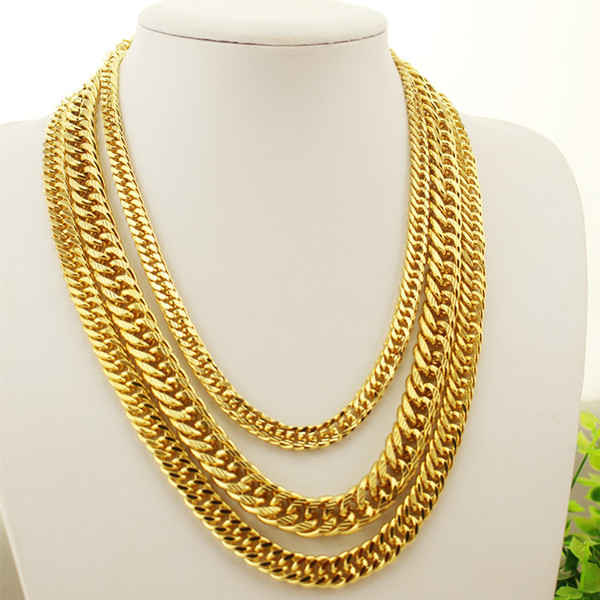 Hip Hop Heavy 24K Gold Filled Mens Chains 8-12MM Miami Cuban long Link Chain Double buckle Necklaces For man s rapper Jewelry