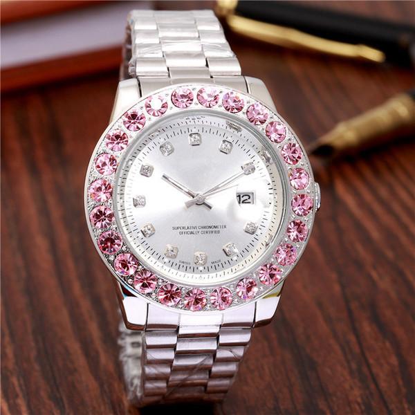 2019 top marque élégante montre de diamant de femmes nouvelle étiquette rose grandes dames montre en argent et or bracelet bracelet montre femme