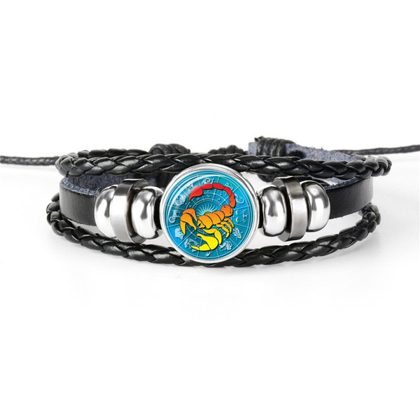 Fashion Multilayers Leather Rope Bead Charm Bracelet For Women Men Silver 12 Horoscope Zodiac Scorpio Time Gem Glass Cabochon Party Jewelry