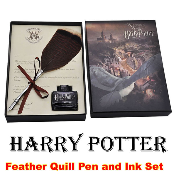 best selling Harry Potter Feather Quill Pen Set Calligraphy Dip Pen Set with Pen & Ink Gift Set for Fans Gifts