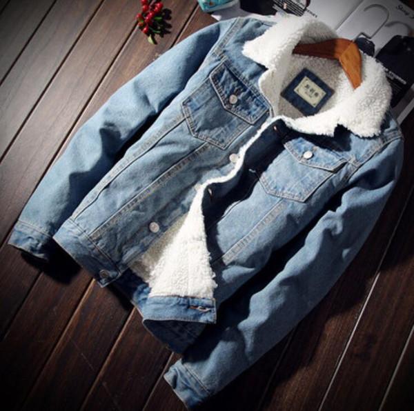 Otoño e invierno abrigo de algodón, además de terciopelo chaqueta de mezclilla de imitación cordero de pelo grueso chaqueta de la juventud ropa de algodón delgado de la camisa de los hombres de la marea M18
