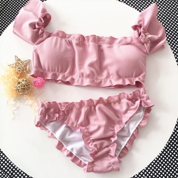 2019 bandeau high cut bikini set swimsuit female swimwear women bathing suit smocked bikinis off shoulder swim suit pink