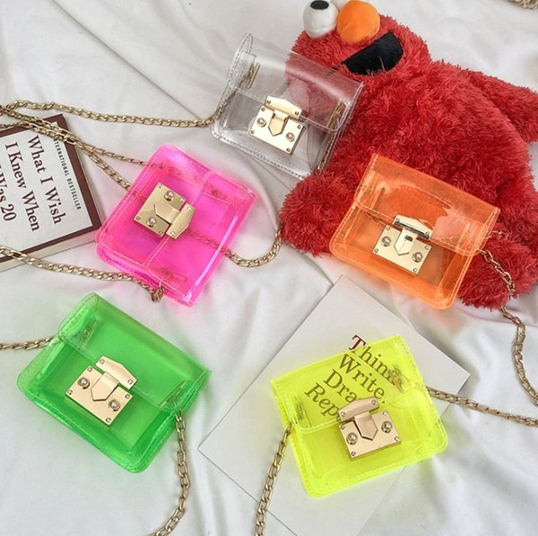 new Baby Girls jelly bag Fashion Kids Candy Color Transparent mini handbag Summer plastic metal chain Children single shoulder bag Y1662
