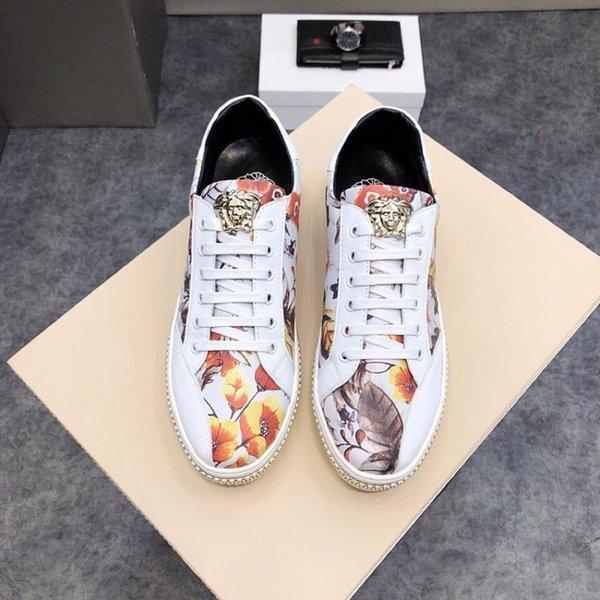 Chaussures Medusa low-top pour nouveaux hommes, 2019e, chaussures de sport à la mode en Angleterre, chaussures de sport imprimées et surpiquées, emballage d'origine: 38-44