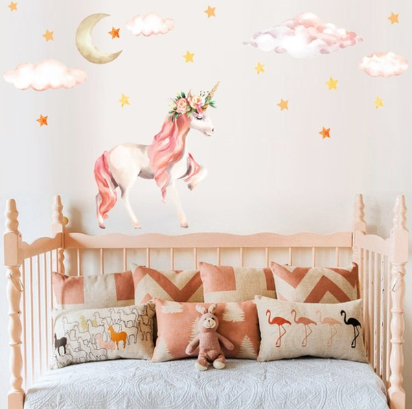 Cute Cartoon Unicorn Wall Stickers For Kids Rooms Girls Bedroom Decor  Unicorn Party Wall Art Home Decoration Accessories White Wedding Decor  Wholesale ...