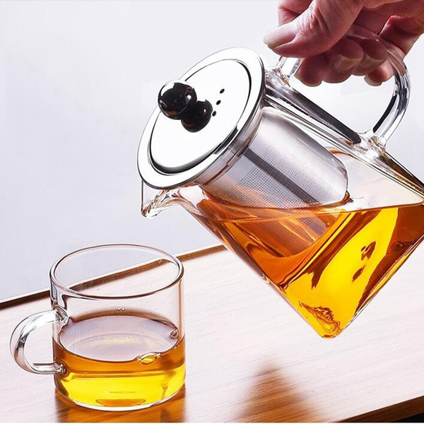 top popular Glass Teapot With Stainless Steel Infuser And Lid For Blooming And Loose Leaf Tea Kettle Promotion 2021