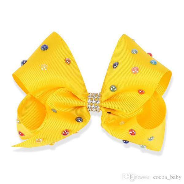 5 Inch JOJO Rhinestone Hair Bow With Clip For School Baby Children Pastel Bow